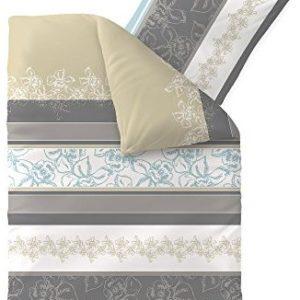 Schöne Bettwäsche aus Baumwolle - grau 135x200 von aqua-textil