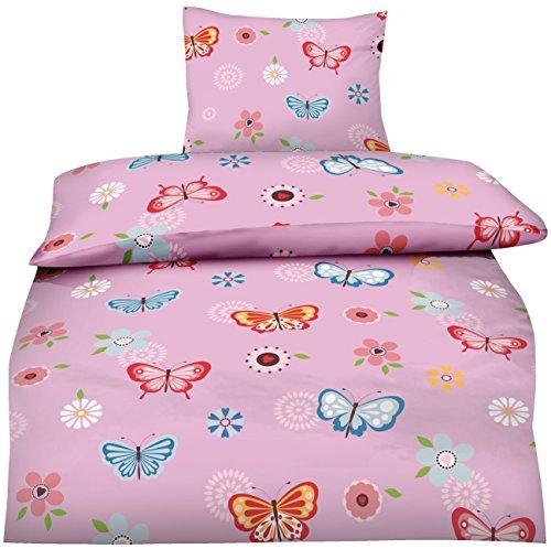 sch ne bettw sche aus baumwolle schmetterlinge rosa 135x200 von aminata kids bettw sche. Black Bedroom Furniture Sets. Home Design Ideas