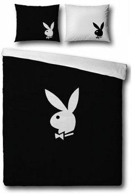 Schwarz-weiße Playboy-Bettwäsche 135x200