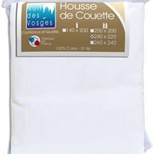 Kuschelige Bettwäsche aus Baumwolle - weiß 220x240 von Nuit des Vosges