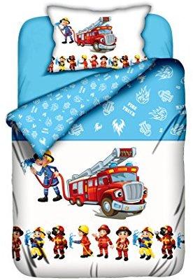 Feuerwehr-Bettwäsche für Kinder aus Biber - blau-weiß 100x135 von Aminata Kids