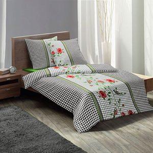 Traumhafte Bettwäsche aus Biber - Rosen schwarz 135x200 von fleuresse