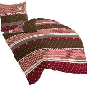 Kuschelige Bettwäsche aus Biber - rot 135x200 von Bierbaum