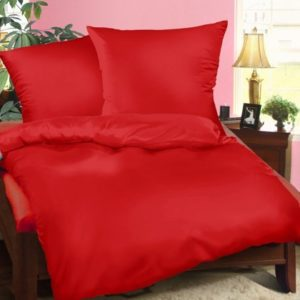 Kuschelige Bettwäsche aus Biber - rot 135x200 von Genieße den Schlaf