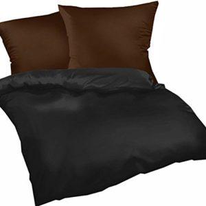 Schöne Bettwäsche aus Biber - schwarz 155x200 von Genieße den Schlaf