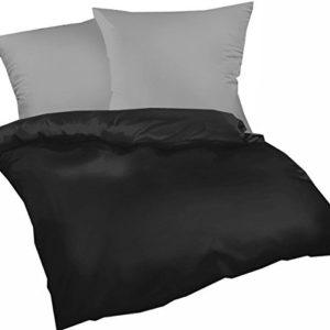 Hübsche Bettwäsche aus Biber - schwarz 155x220 von Genieße den Schlaf