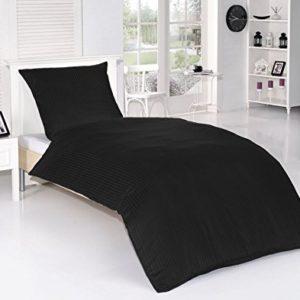 Kuschelige Bettwäsche aus Damast - schwarz 155x220 von optidream
