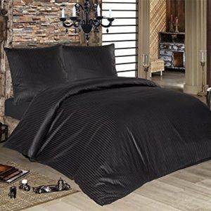 Hübsche Bettwäsche aus Damast - schwarz 200x200 von optidream