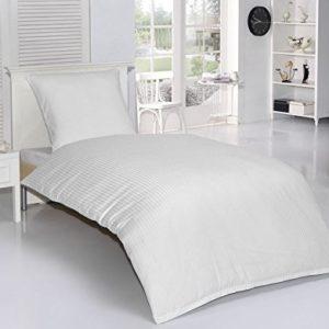 Hübsche Bettwäsche aus Damast - weiß 135x200 von optidream