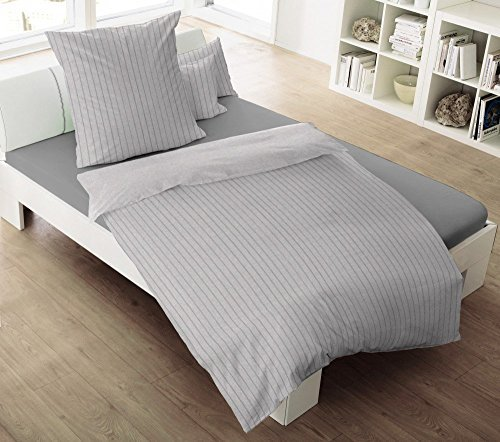 sch ne bettw sche aus flanell grau 155x220 von dormisette bettw sche. Black Bedroom Furniture Sets. Home Design Ideas