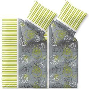 Hübsche Bettwäsche aus Fleece - grün 135x200 von CelinaTex