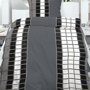 Hübsche Bettwäsche aus Fleece - schwarz weiß 135x200 von KH-Haushaltshandel
