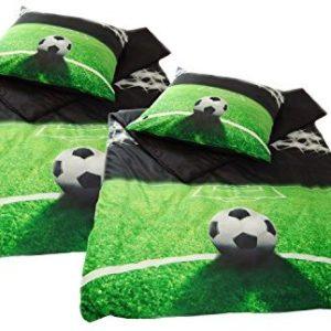 Traumhafte Bettwäsche aus Jersey - Fußball grün 135x200 von Pöller