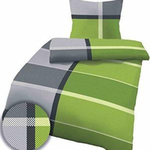Hübsche Bettwäsche aus Linon - grün 135x200 von Ido