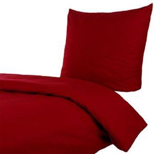 Kuschelige Bettwäsche aus Linon - rot 135x200 von Hans-Textil-Shop