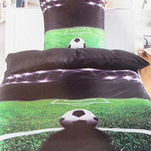 Schöne Bettwäsche aus Microfaser - Fußball schwarz 135x200 von KH-Haushaltshandel