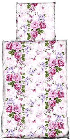 Traumhafte Bettwäsche aus Microfaser - rosa 135x200 von one-home