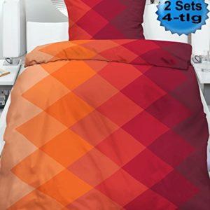 Schöne Bettwäsche aus Microfaser - rot 135x200 von KH-Haushaltshandel