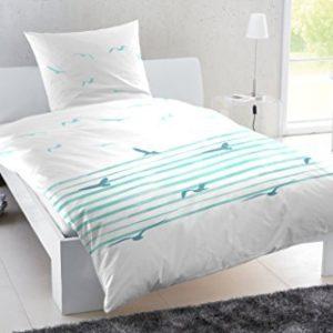 Hübsche Bettwäsche aus Perkal - türkis 155x220 von Primera