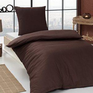 Hübsche Bettwäsche aus Renforcé - braun 155x220 von Bettenpoint
