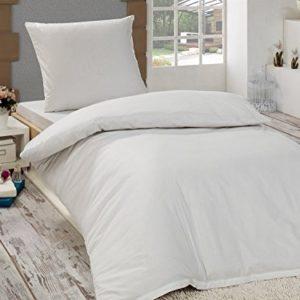 Schöne Bettwäsche aus Renforcé - weiß 155x220 von