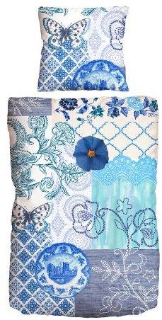 Kuschelige Bettwäsche aus Satin - blau 135x200 von beties