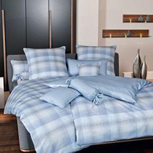 Kuschelige Bettwäsche aus Satin - blau 135x200 von Janine