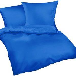 Kuschelige Bettwäsche aus Satin - blau 155x220 von Carpe Sonno
