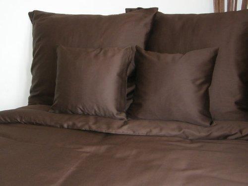 Kuschelige Bettwäsche aus Satin - braun 155x200 von Mako Satin