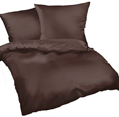 Hübsche Bettwäsche aus Satin - braun 220x240 von Bettwaren-XXL