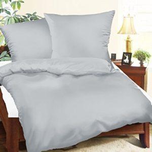 Schöne Bettwäsche aus Satin - grau 135x200 von Bettwaren-XXL