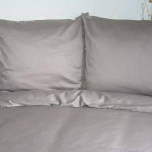 Kuschelige Bettwäsche aus Satin - grau 135x200 von Mako Satin