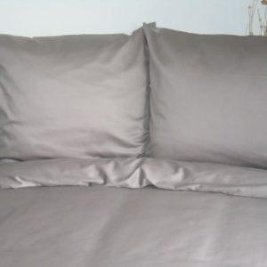 Traumhafte Bettwäsche aus Satin - grau 155x200 von Mako Satin