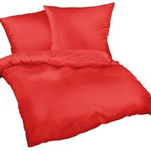 Hübsche Bettwäsche aus Satin - rot 135x200 von Bettwaren-XXL