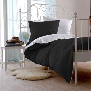 Traumhafte Bettwäsche aus Satin - schwarz 135x200