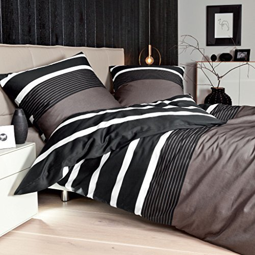 sch ne bettw sche aus satin schwarz 155x220 von janine bettw sche. Black Bedroom Furniture Sets. Home Design Ideas
