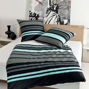 Kuschelige Bettwäsche aus Satin - türkis 135x200 von Janine