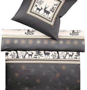 Kuschelige Bettwäsche aus Satin - Weihnachten schwarz 155x200 von Kaeppel