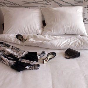 Hübsche Bettwäsche aus Satin - weiß 155x200 von Mako Satin