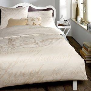 Kuschelige Bettwäsche aus Satin - weiß 155x220 von Zeitgeist