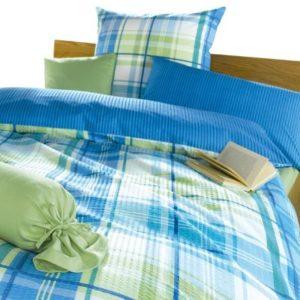 Schöne Bettwäsche aus Seersucker - blau 155x200 von Biberna
