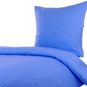 Hübsche Bettwäsche aus Seersucker - blau 155x220 von Hans-Textil-Shop