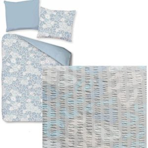 Hübsche Bettwäsche aus Seersucker - blau 155x220 von KH-Haushaltshandel