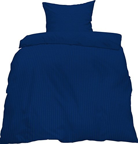 Kuschelige Bettwäsche aus Seersucker - blau 155x220 von KH-Haushaltshandel