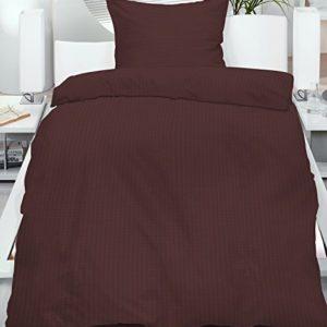 Kuschelige Bettwäsche aus Seersucker - braun 155x220 von KH-Haushaltshandel