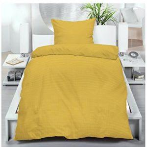 Schöne Bettwäsche aus Seersucker - gelb 155x220 von Frottier Heimtexhandel