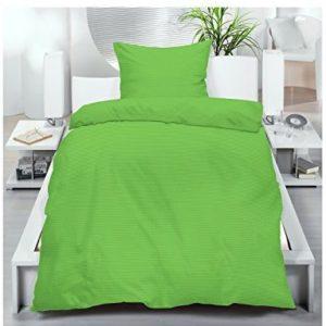 Hübsche Bettwäsche aus Seersucker - grün 135x200 von Borghorster Heimtexhandel