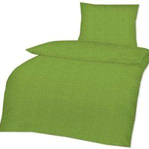 Kuschelige Bettwäsche aus Seersucker - grün 135x200 von optidream