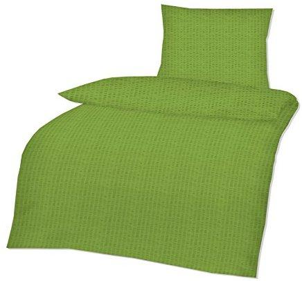 kuschelige bettw sche aus seersucker gr n 135x200 von. Black Bedroom Furniture Sets. Home Design Ideas