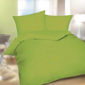 Hübsche Bettwäsche aus Seersucker - grün 155x220 von Kaeppel